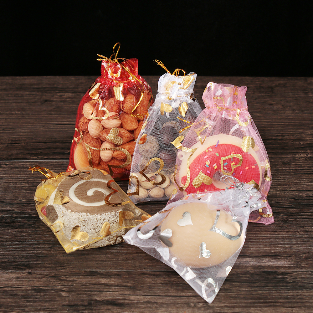 10Pcs 7x9/9x12/13x18cm Heart Organza Gift Bag Cute Candy Package For Wedding Favor Drawstring Pouch Jewelry Bright Party Decor