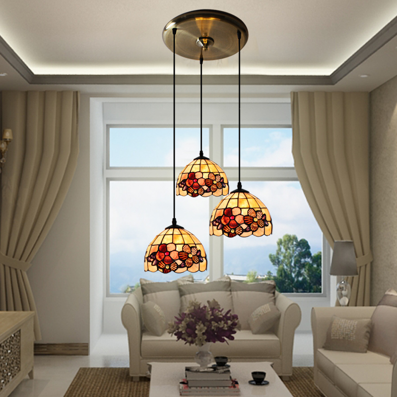 Mediterranean Style Natural Shell Shade LED pendant light Dining Room 3 Head