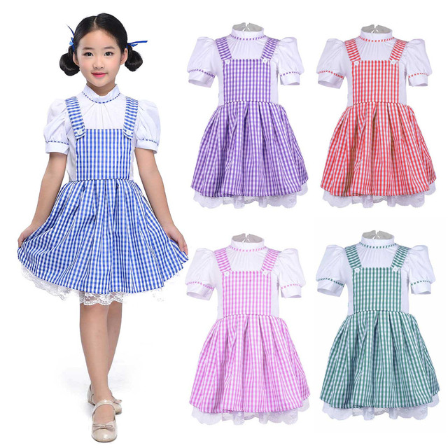531937a910 US $24.49 30% OFF|Girls Striped Dress Vintage Overalls Strap A line Gingham  Strappy Suspender Skirt Short Sleeve Fluffy Petticoat Mini Dress-in Movie  ...