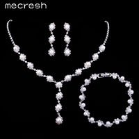 Simple Syle Pearl Jewelry Silver Plated Wedding Accessories Bridal Round Beads Top Crystal Women Jewelry Sets