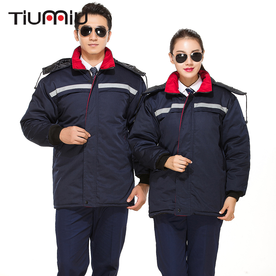 Thick Coat Unisex Working Protective Men Women Patchwork High Quality Engineering Service One Piece Winter Outside Workwear Coat