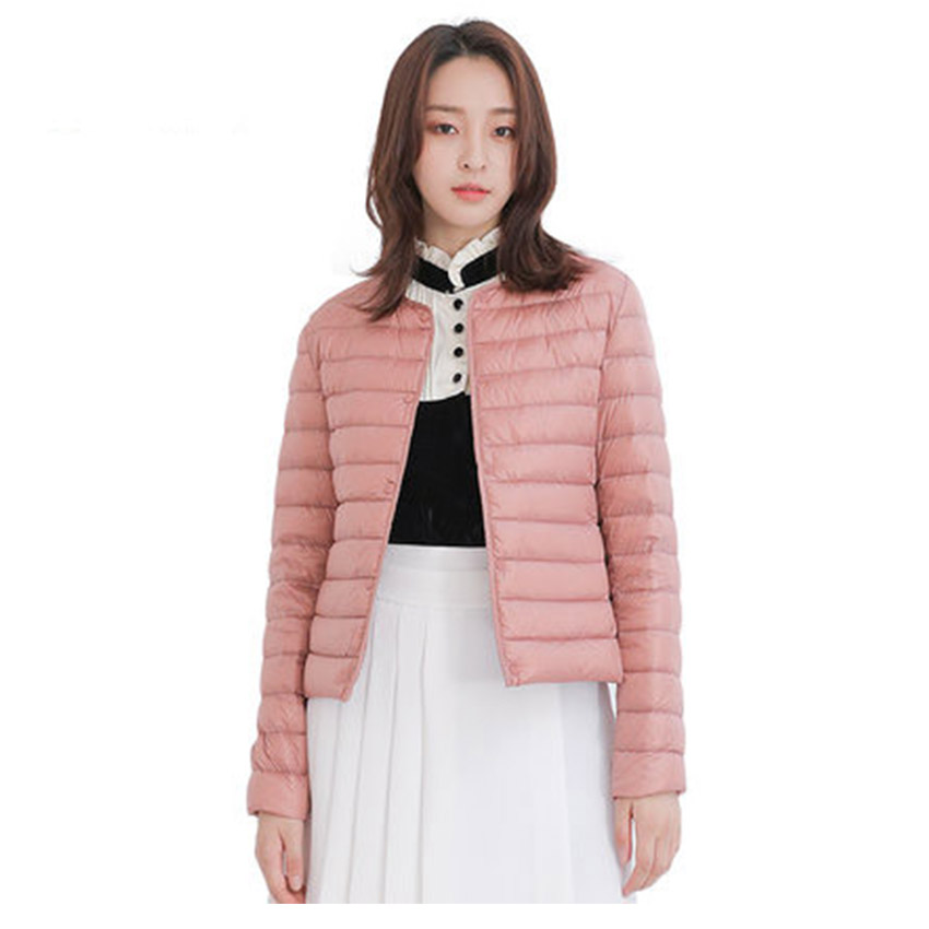 New arrival 2019 autumn winter thin   down   jacket women single breasted slim short   down     coat   outerwear