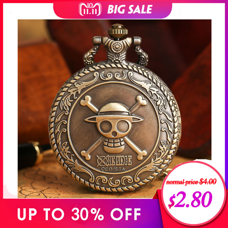 2018 Hot Selling Men's Japan Cartoon Anime One Piece Pocket Watch Fashion Men Women Necklace Chain Vintage FOB Steampunk Pendant otoky montre pocket watch women vintage retro quartz watch men fashion chain necklace pendant fob watches reloj 20 gift 1pc