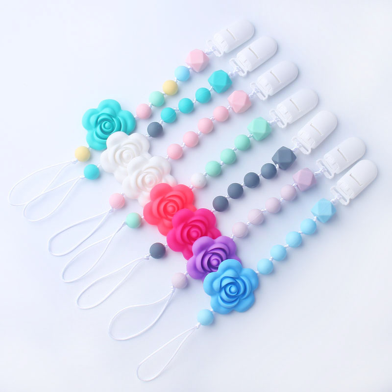 Pacifier Clip Girl BPA Free Flower Silicone Teether Chain Nursing Pacifier Holder For Infant 1Pcs