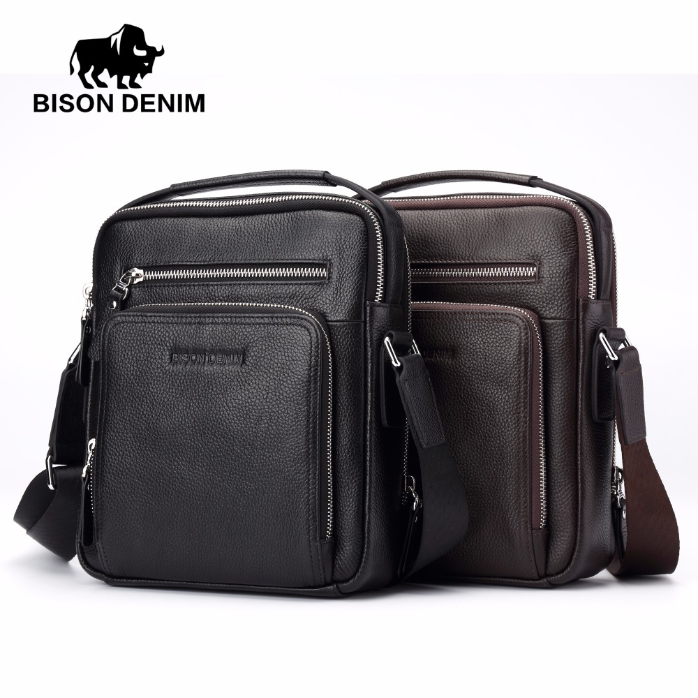 BISON DENIM 2017 Genuine Leather Men Bags Ipad Handbags Male Messenger Bag Man Crossbody Shoulder Bag