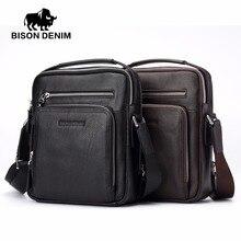 BISON DENIM 2017 Genuine Leather Men Bags Ipad Handbags Male Messenger Bag Man Crossbody Shoulder Bag Men's Travel Bags 2333