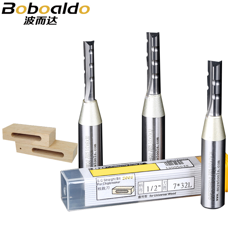 1PC 1/2 TCT Three Flutes Inlaid Straight Router Bits Solid Tungsten Steel Carbide Carving Tools Slotted Arden Woodworking Tool