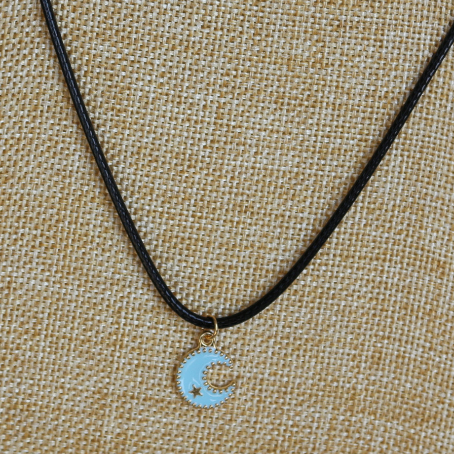 New women fashion lovely cute blue moon pendants black leather short new women fashion lovely cute blue moon pendants black leather short necklaces lover collarbones necklace for friend na855 in pendant necklaces from jewelry aloadofball Images