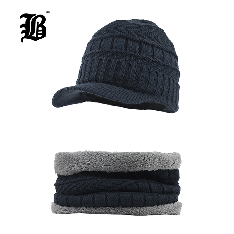 [FLB] Winter   Beanie   Hat Scarf   skullies     beanies   Soft Skull Warm Baggy Cap Mask Gorros Winter Hats For Men Women Knitted HatF18025