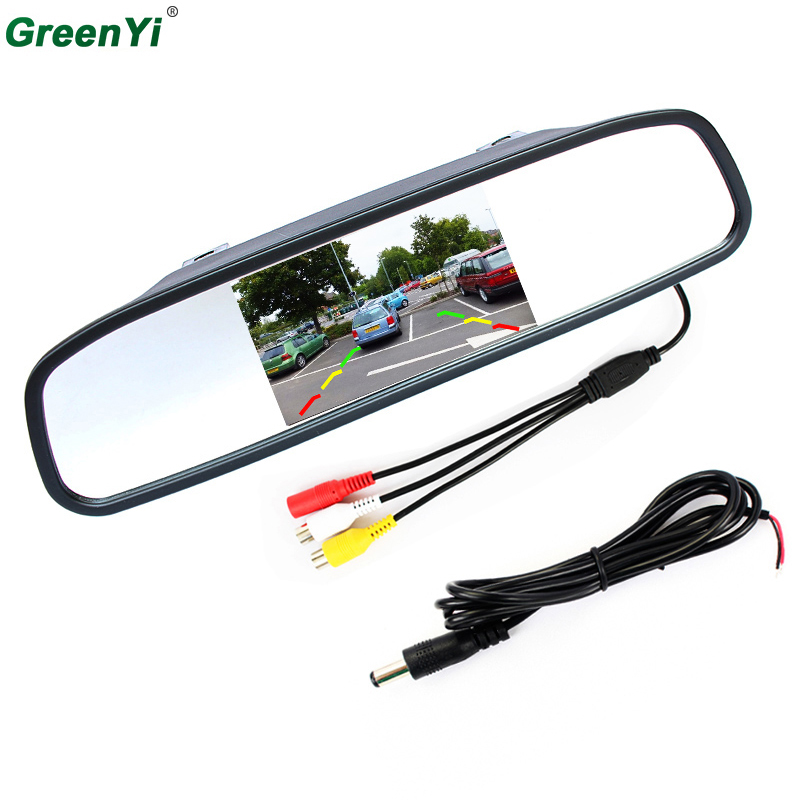 GreenYi M430 Wholesale 10PCS 4.3Digital TFT LCD Mirror Car Parking Rear View Monitor 2 Video Input Connect Rear / Front Camera