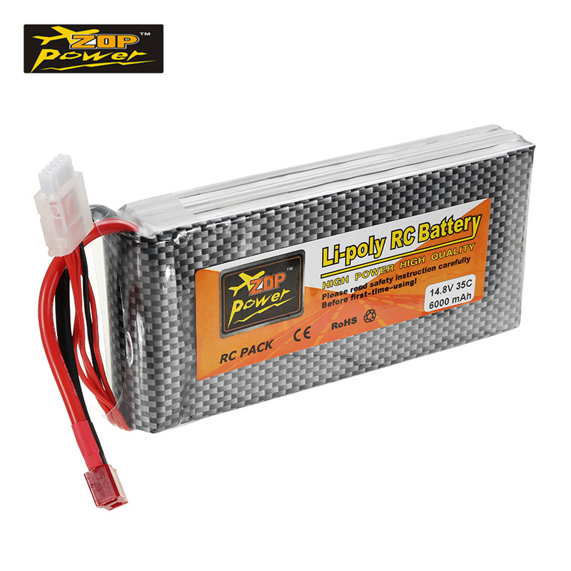ZOP Power 14.8V 6000mah 35C 4S Lipo Battery T Plug Rechargerble for RC Car RC Airplane Quadcopter Parts Accs mos rc airplane lipo battery 3s 11 1v 5200mah 40c for quadrotor rc boat rc car