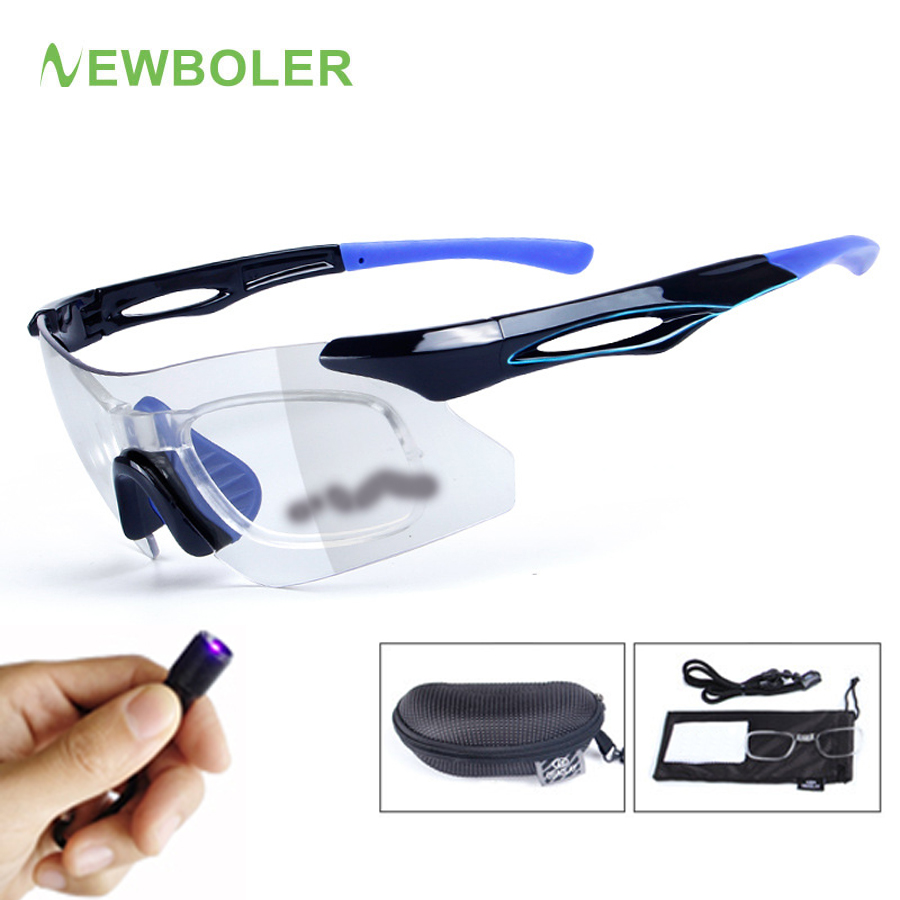 New Photochromic Bicycle Sunglasses Eyewear Rimless Myopia Sports Bike Goggles