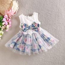 Princess Kid 2-6 Y Girls One Piece Dress Gauze Floral Back Bowknot Tutu Dress
