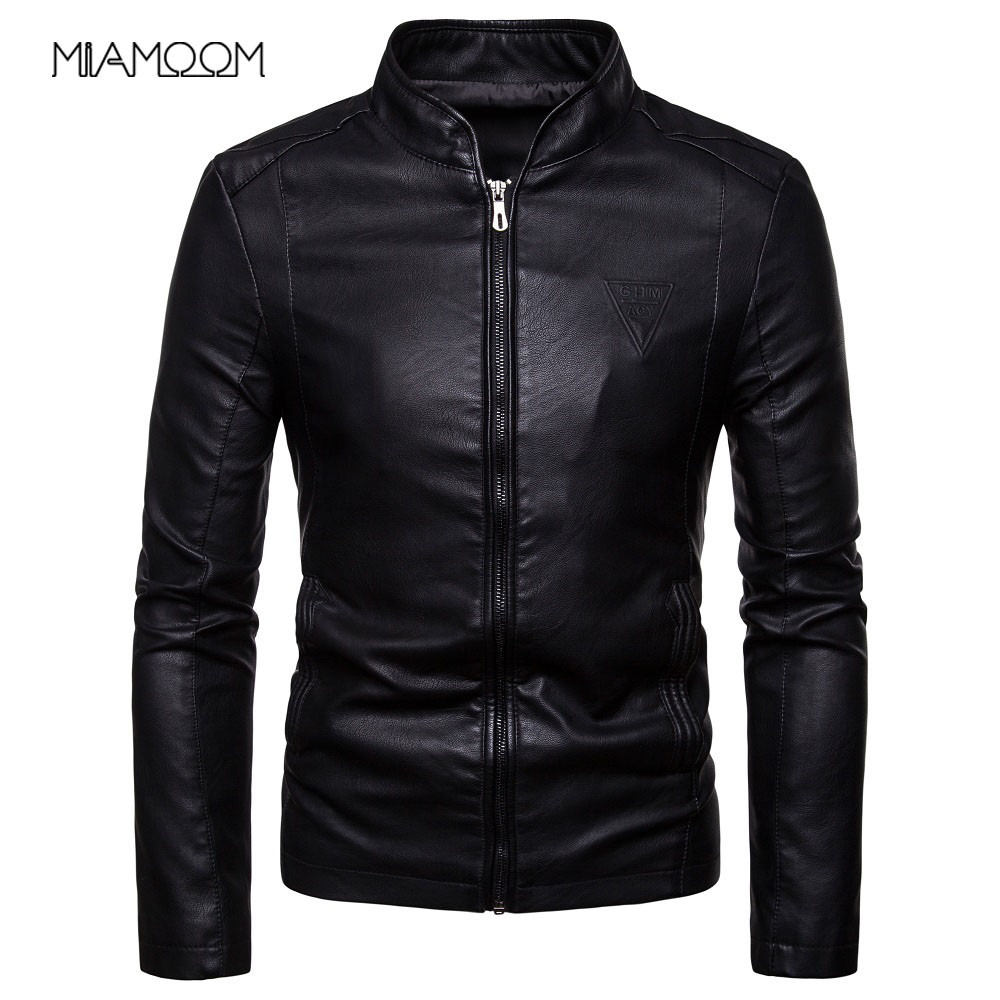 Men Leather Jackets Autumn New Men's Korean Style Slim Collar PU Leather Jacket(China)