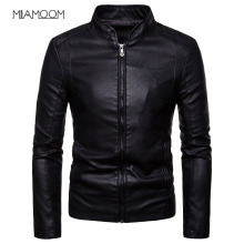 Мужские кожаные куртки, Осенние новые мужские корейские стильные тонкие Куртки из искусственной кожи с воротником