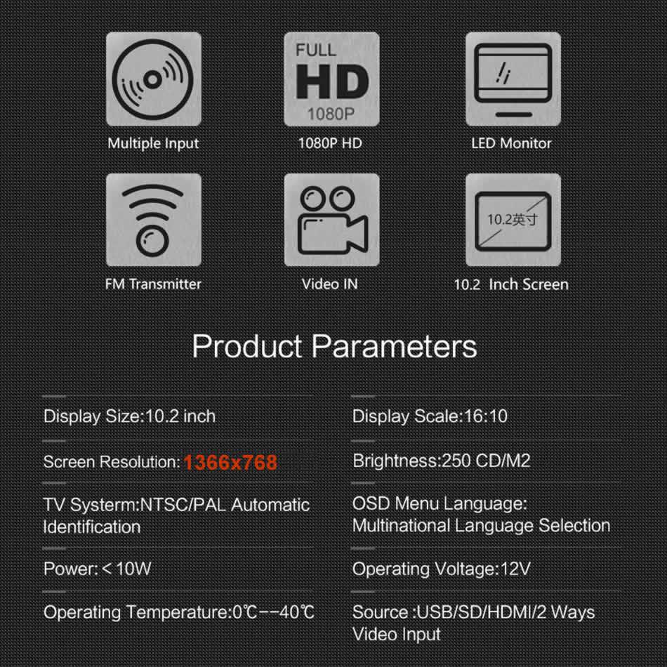 Image 5 - Супер тонкий 10 дюймов подголовник автомобиля мультимедийный MP4 MP5 видео плеер HD Экран для контроля уровня сахара в крови с поддержкой USB, SD карт памяти, HDMI AV слот и FM передатчик-in Мониторы для авто from Автомобили и мотоциклы on AliExpress - 11.11_Double 11_Singles' Day