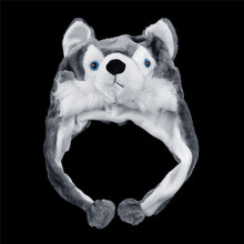 Wolf Hat Plush-Hat Huskies Animal-Style Scarf Mascot Warm Fluffy Cute Cartoon Toy Earmuff