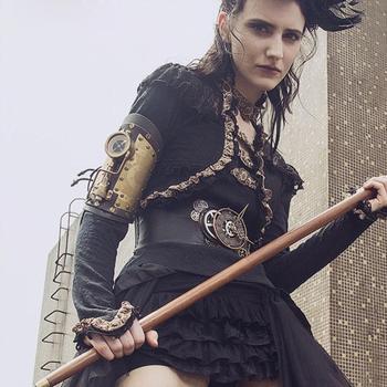 GEARDUKE nouveau accessoire Steampunk Bracelet en cuir véritable avec boussole Led gothique Costumes d'halloween Style Lolita