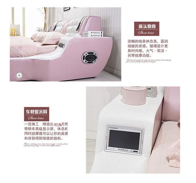 Real Genuine leather bed TV Soft Beds Bedroom camas lit muebles de dormitorio yatak mobilya quarto massage speaker bluetooth 5