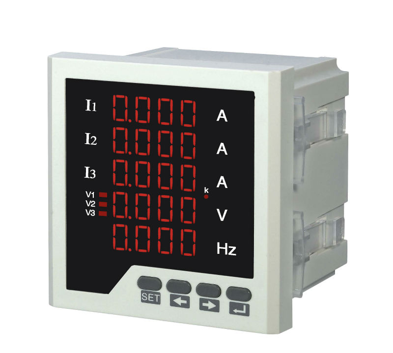 3UIF35-1T three phase LED digital voltage ampere and frequency 5 lines display combined meter with RS485 communcation three phase digital voltmeter ammeter digital ampere panel meter 96 96 led display combined meter