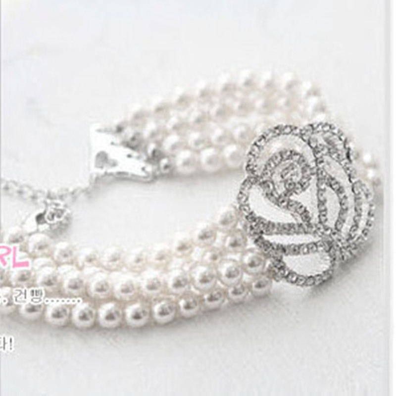 2018 Fashion Big rhinestone crystal rose strand imitation pearl bracelet for women handmade wholesale bracelets & bangles