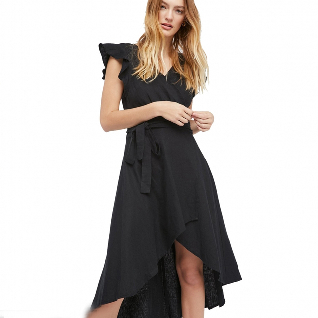 bc692c9ba72 Новинка 2017 повседневные длинные летние платья однотонные черные льняные  на шнуровке платье с бантом asymmetical Бабочка