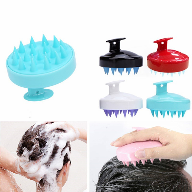 1pc Shampoo Brush Hair Scalp Massager Soft Silicone Comb Massage (Wet& Dry) For Men Women Kids Pet, Red, Blue