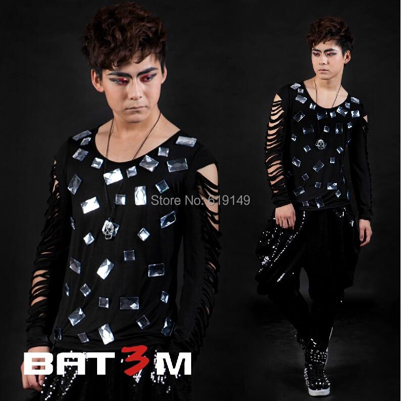 S-3xl! 2020 mince hommes scène T-shirt trou à manches longues grande taille T-shirt mâle Costume Ds Original Design vêtements pour hommes/Xs-xxxl