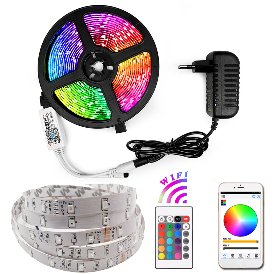 Tira de luces Led RGB a prueba de agua, 5M, 10M, 15M, tira de luces LED DC12V, cinta de cinta Led, tira de luces LED, cinta de iluminación para fiestas
