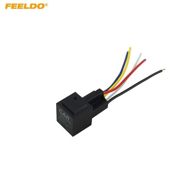 FEELDO 10Pcs 12V 40A Car Auto 5 Wire Terminal Relay Socket Harness