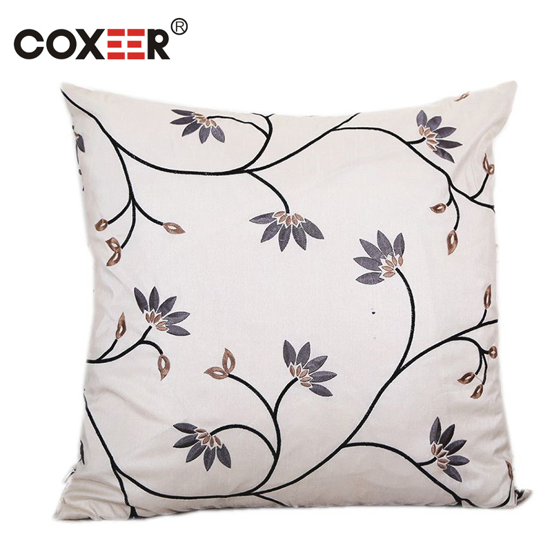 coxeer Printed Cushion Cover Floral Embroidered Pillow Cover Polyester Elegant Square Pillowcase Sofa Home Decor Kussenhoes New