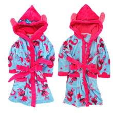 Детский флисовый халат с коралловыми ушками для девочек домашнего