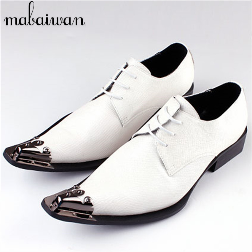 white suit match genuine leather derby shoes lace up