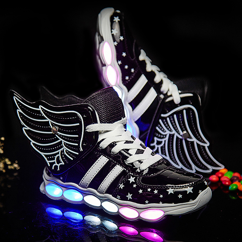 Black Children Shoes Light Led luminous Shoes Boys Girls USB Charging Sport Shoes Casual Led Shoes Wing Kids Glowing Sneakers children usb charger luminous shoes lace boys girls led light sneakers fashion kids night show casual shoes brand