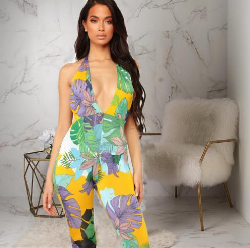 2019 Afrikaanse Kleding Hot Stijl Digital Print Tropische Leaf V-hals Band Jumpsuit