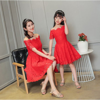 Mommy And Me Red Summer Dresses Short Sleeve Lace Dress Family Matching Clothes Princess Fashion Dress