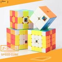 : Mofangjiaoshi 3 шт. 4 шт./компл. 2x2/oneplus 3/OnePlus x 3 4x4 5x5 магический куб головоломка на скорость Подарочная коробка цветной MF2 MF3 MF3rs MF4 MF5 развивающая игруш...