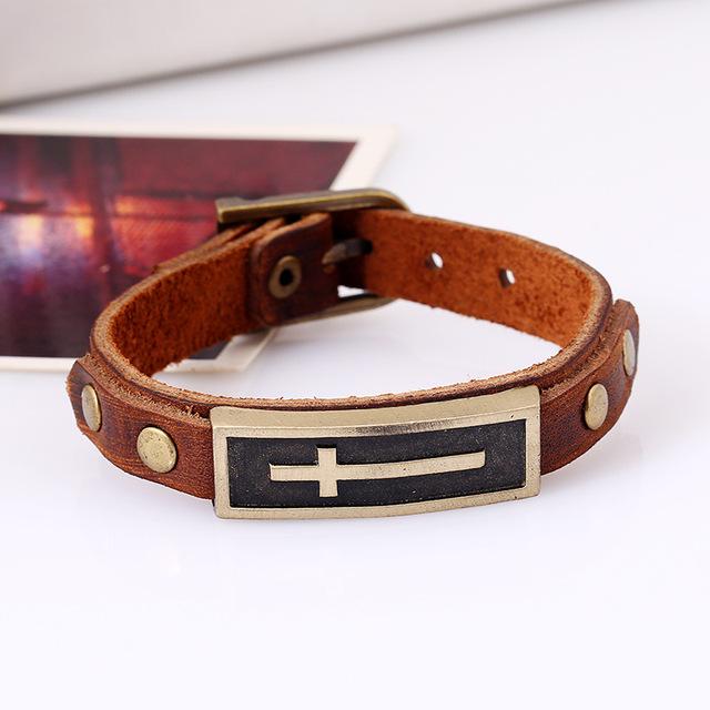 Men Leather Bracelet Christian Cross