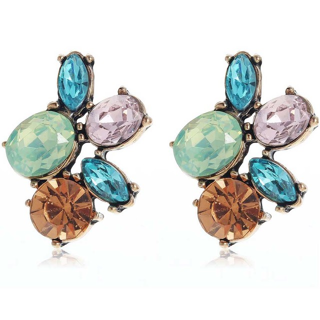 Yayi Green Blue Pink Brown Gl Rhinestone Dangle Earring Women S Fashion Ancient Gold Gem Earrings For
