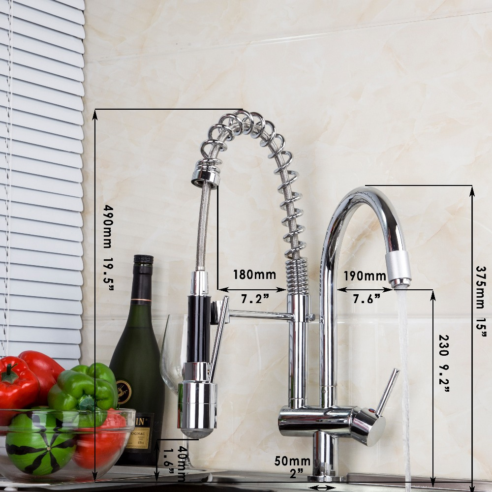 YANKSMART Kitchen Faucet Double Spouts LED Kitchen Faucets Single ...