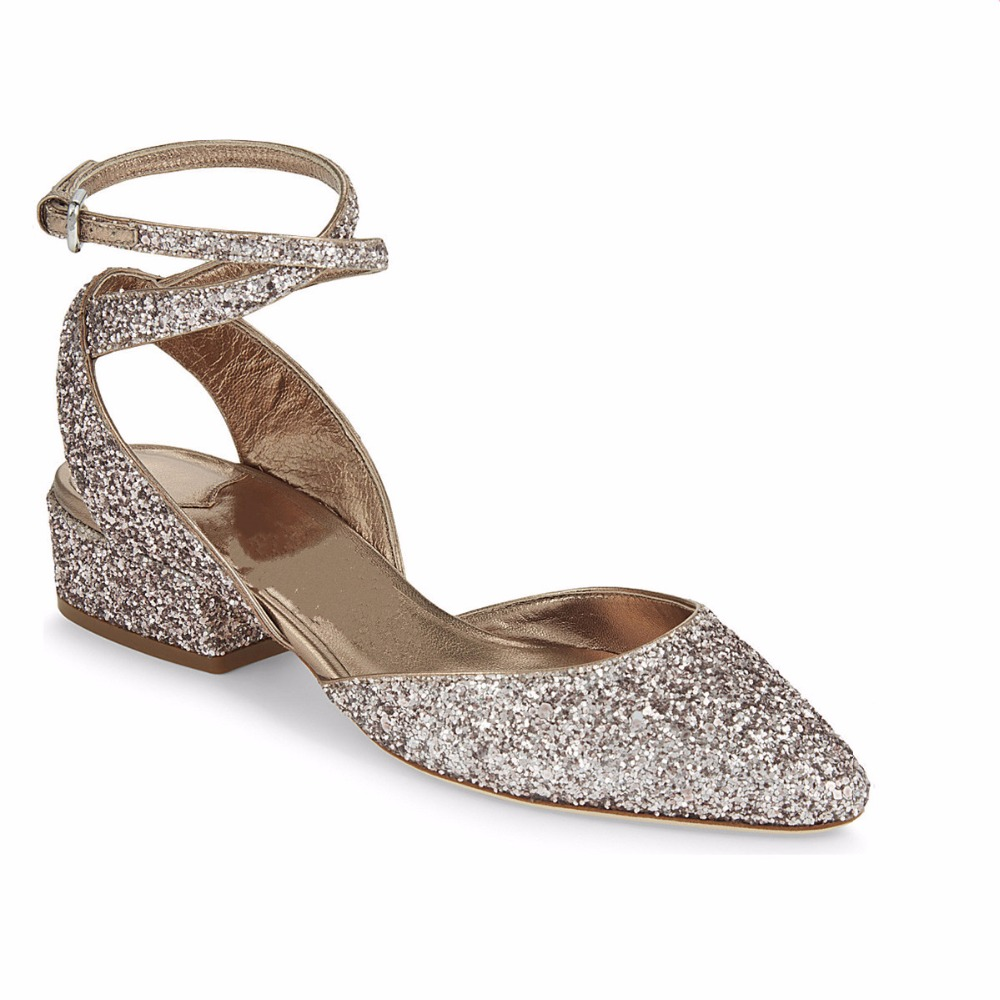 Summer new silver shoes bling bling sandals ankle strap low heeled