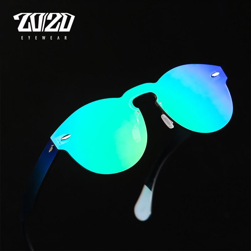 20/20 Merek Desainer Kacamata Wanita UV400 Retro Perempuan Putaran Kacamata Tanpa Bingkai Travel Pria Eyewear Gafas Ocuols PC1602
