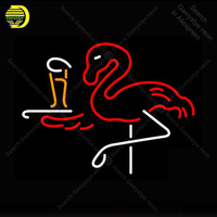 Neon Sign for Flamingo With Beer neon Light Sign illuminated Display Beer Club Sign glass Tubes Handcrafted Neon signs Fill Gas