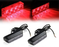 2x Red Waterproof LED Warning Hazard Emergency Beacon Flash Strobe Signal Light For Truck SUV