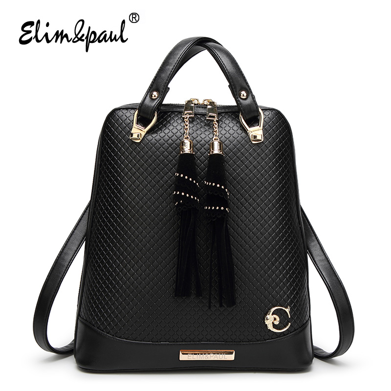 ELIM&PAUL Women Leather Backpack Girls School Bag For Teenager Backpack Bags For Women School Leather Bags Backpack Vintage D018