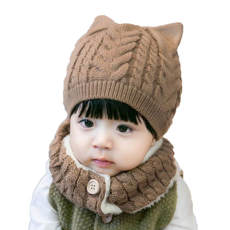 Winter Baby Girl Hat And Scarf Set For Children Boys Kids Thick Cable Knit Ear Beanie Cap Button Scarves Warm Wear 2 Pcs Suit