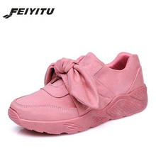 FeiYiTu Womens Bow Sneakers Tie Ladies Wedges For Women Satin Casual Shoes with Bowknot Flats Shoe Pink black 36-41