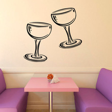 Two Glasses of Wine Champagne Wall Stickers Kitchen Cafe Living Room Home Interior Design Wall Vinyl Decal Sticker