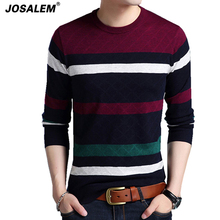 JOSALEM Fashion Men Striped Sweaters 2017 New Autumn Winter Cashmere Slim Knitwear O-neck Man Knitted Pullovers Brand Clothing