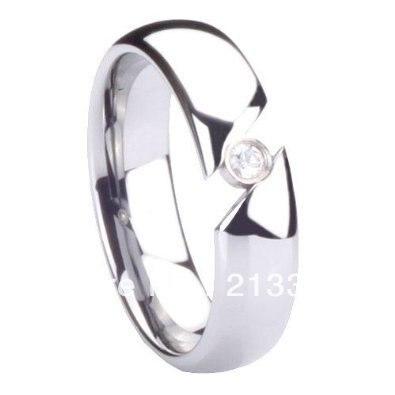 2 pièces/paire livraison gratuite pas cher prix USA vente chaude 8mm carbure de tungstène cubique zircone Tension mariage unisexe anneau de mariage - 4